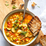 Vegan Roasted Corn and Pepper Soup in a bowl