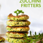 A stack of millet zucchini fritters with cream on top.