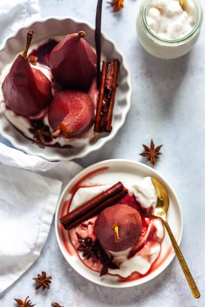 Spiced Red Wine Poached Pears flat view