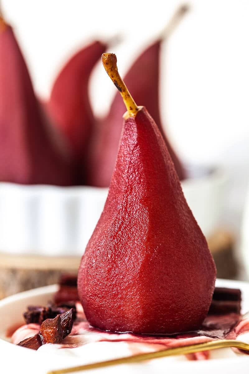 Upclose Spiced Red Wine Poached Pears