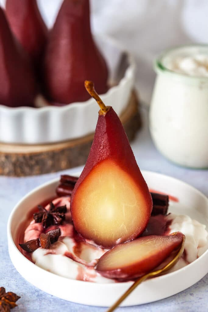 Spiced Red Wine Poached Pear sliced open