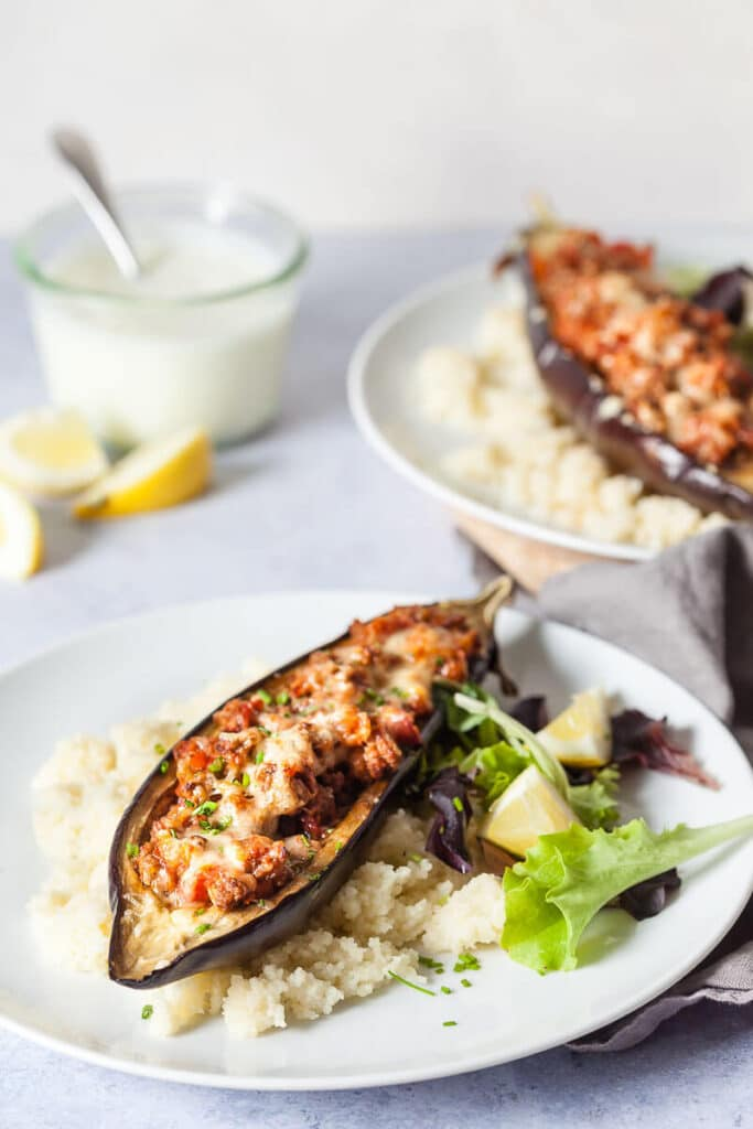 Roasted Stuffed Eggplants