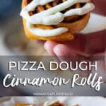 Vegan Pizza Dough Cinnamon Rolls In hand