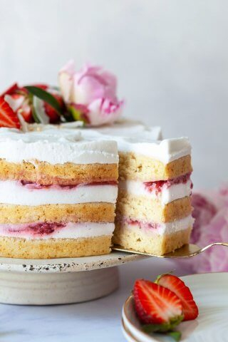 Vegan Coconut Strawberry Cake