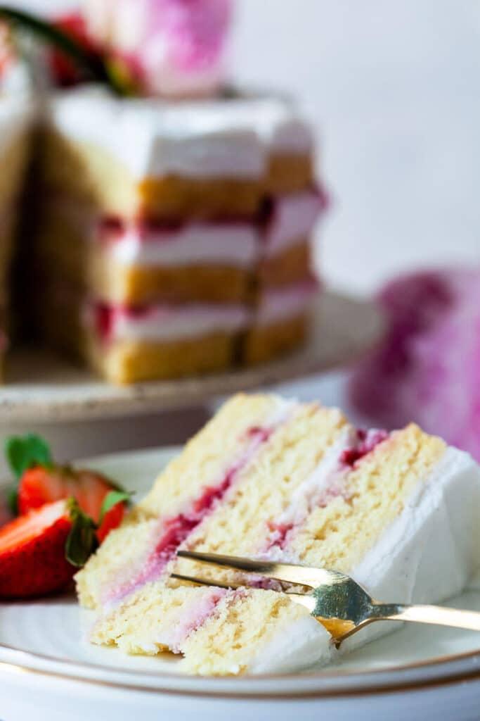 Vegan Coconut Strawberry Cake