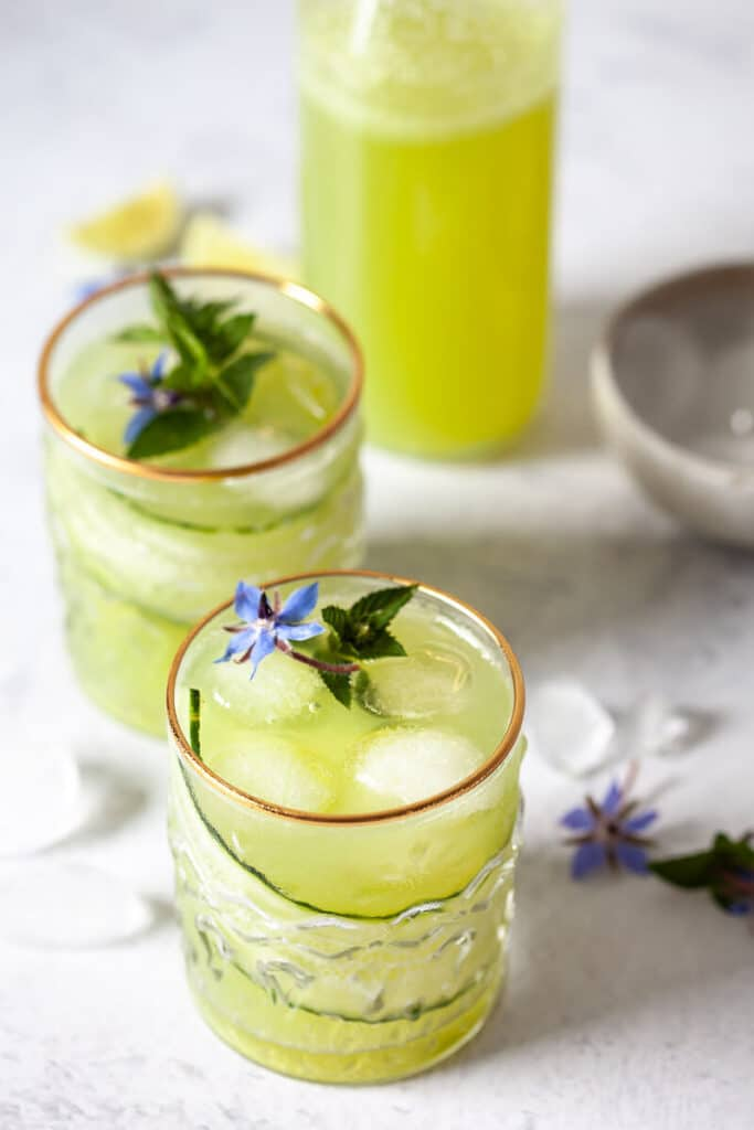 Cucumber Lime Mocktail in glasses