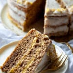 A slice of Walnut Cake with Vanilla Cream