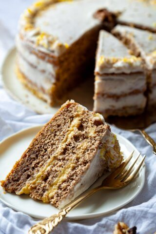 A slice of Walnut Cake with Vanilla Cream