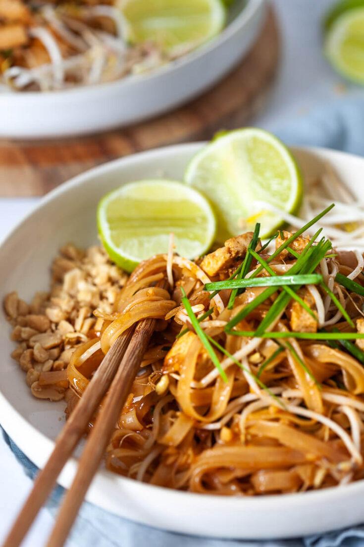 The Best Vegan Tofu Pad Thai Vibrant Plate