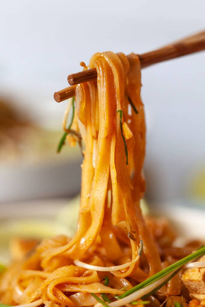 Vegan Pad Thai Noodles On Chopsticks
