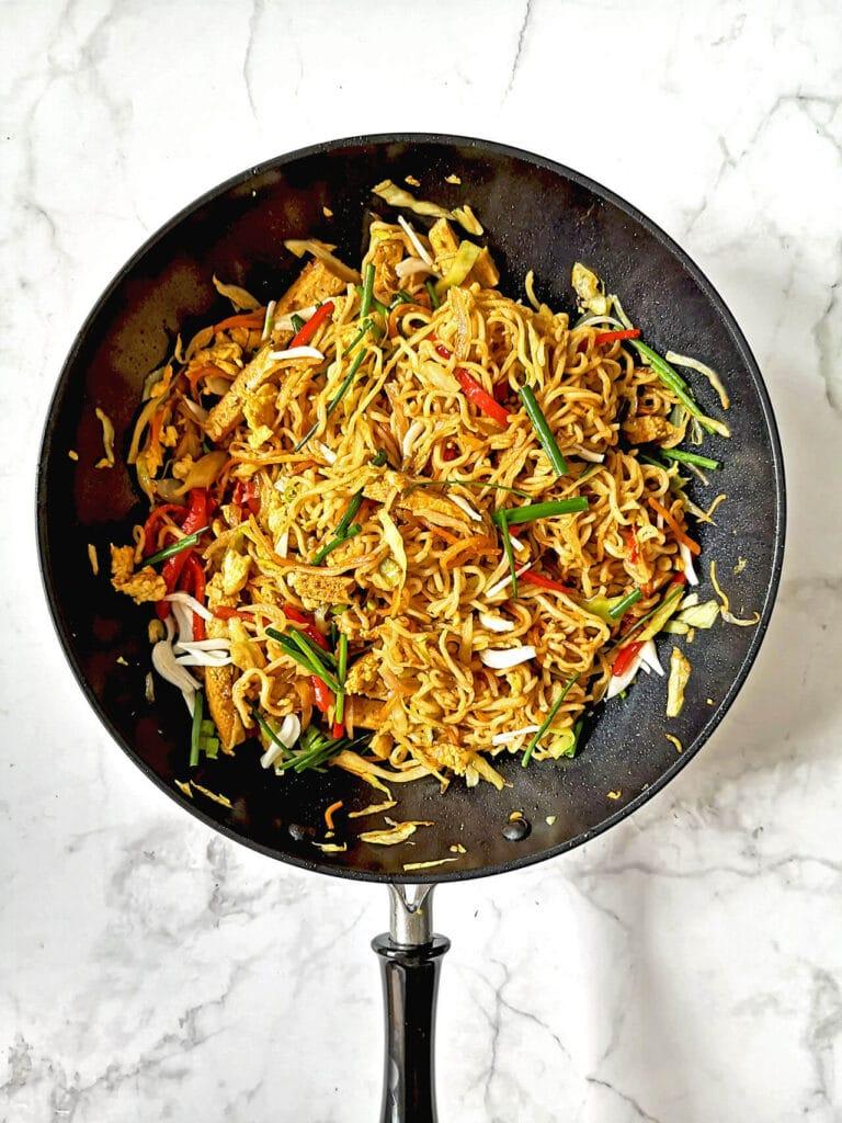 Vegan Tofu Lo Mein in a wok