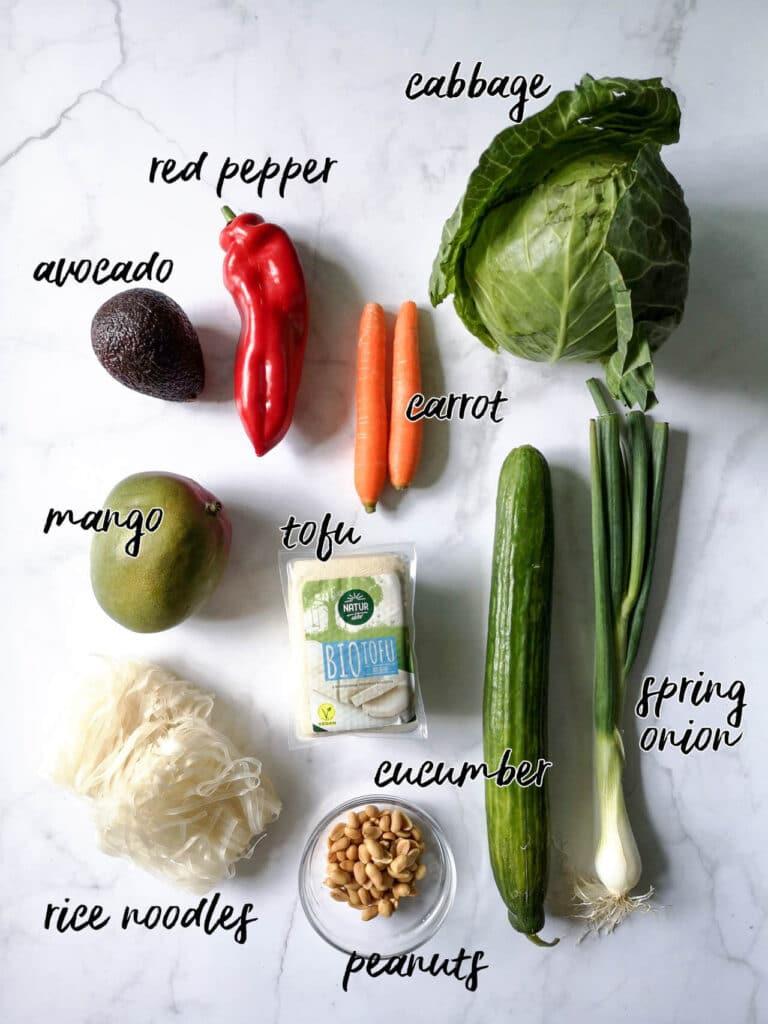 Spring Roll Noodle Bowl Ingredients