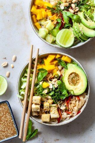 Vegan Spring Roll Noodle Bowl