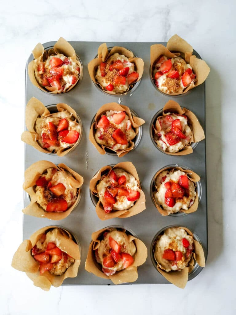 Vegan Breakfast Strawberry Muffins Before Baking