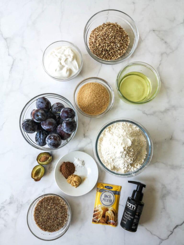Vegan Plum and Cinnamon Cake Ingredients