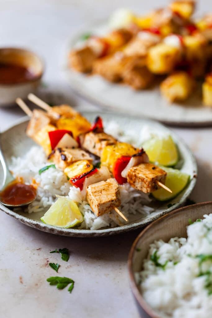 BBQ Pineapple and Tofu Skewers