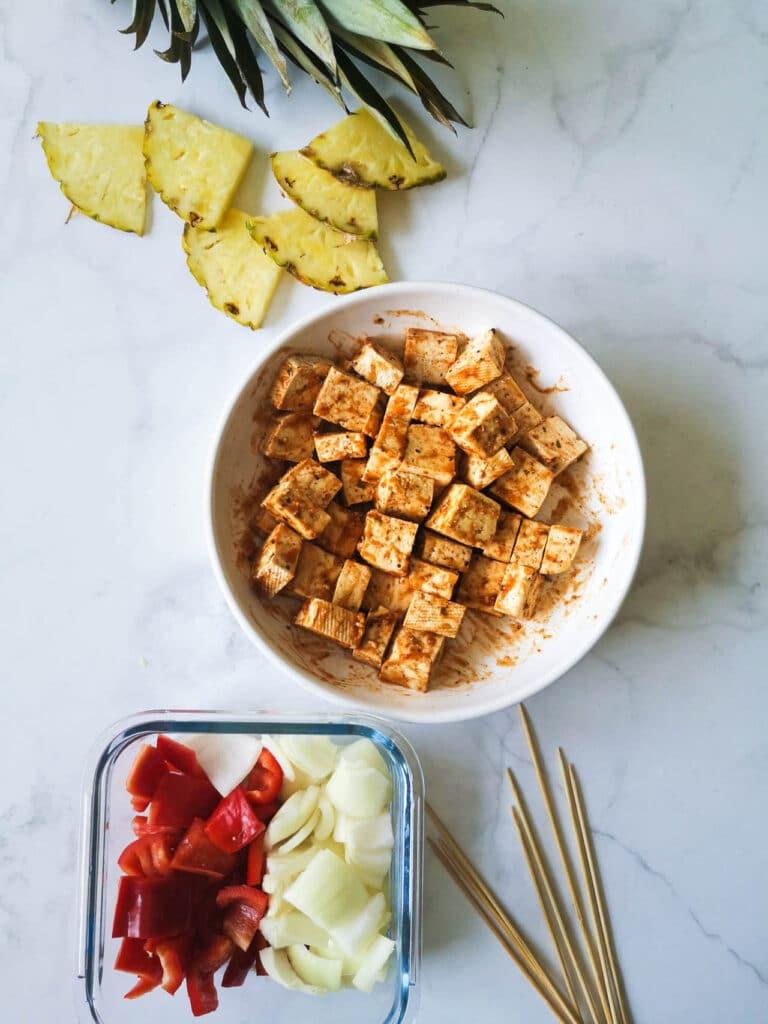 BBQ Pineapple and Tofu Skewers Ingredients