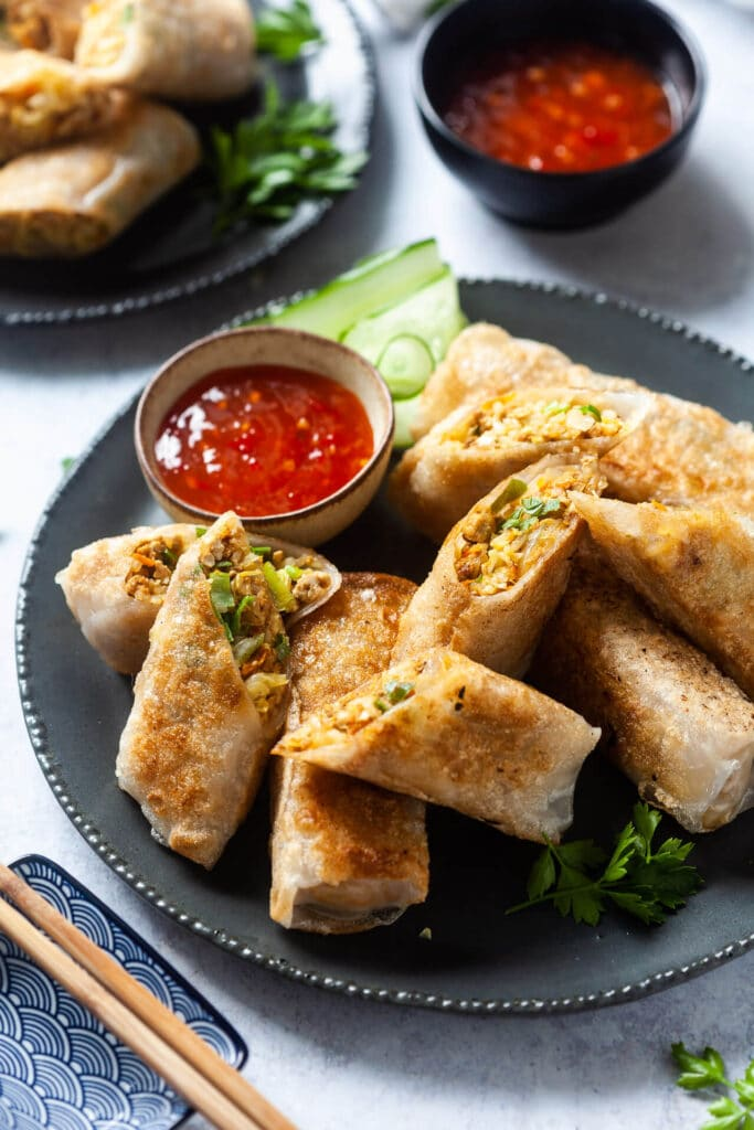Crispy Pan-Fried Tofu Spring Rolls
